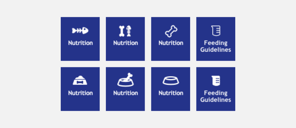 A collection of potential icons for the proposed SmartLabel® pet food template using bones and bowls for the Nutrition tab and a measuring cup for Feeding Guidelines tab