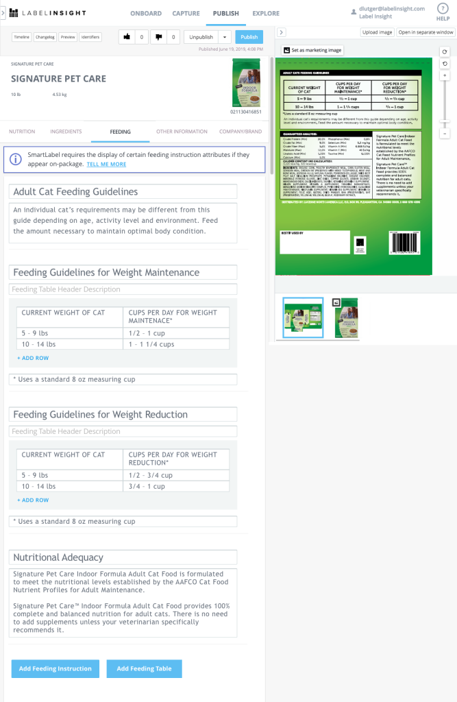The SmartLabel landing page of the Nutrition tab for the Pet Food template